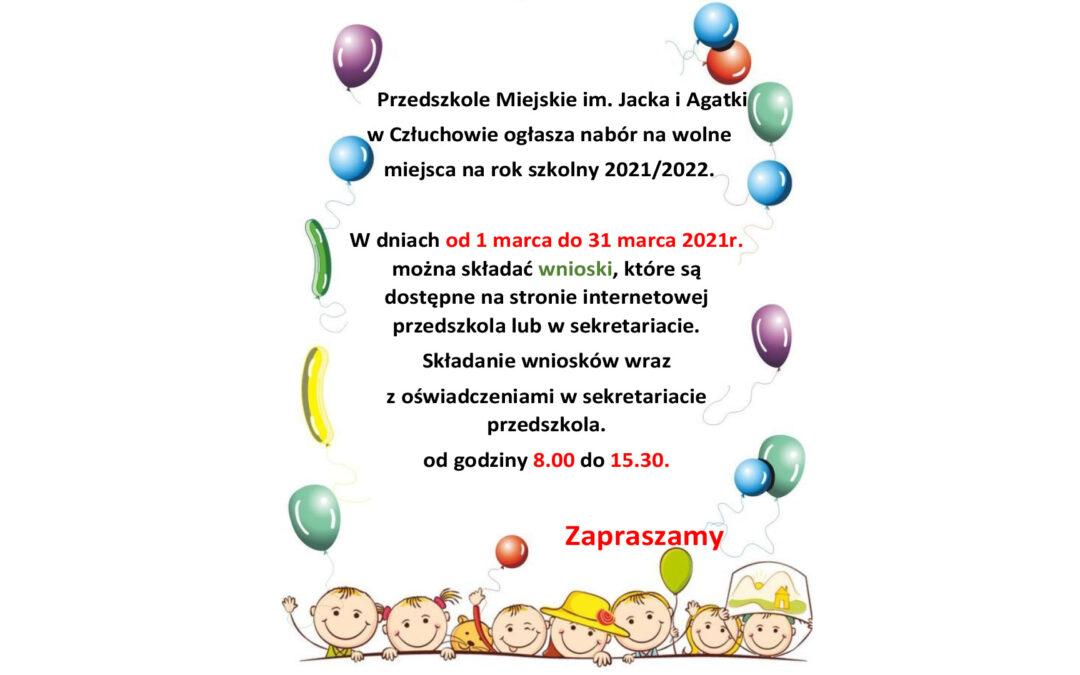 RUSZA REKRUTACJA NA ROK SZKOLNY 2021/2022